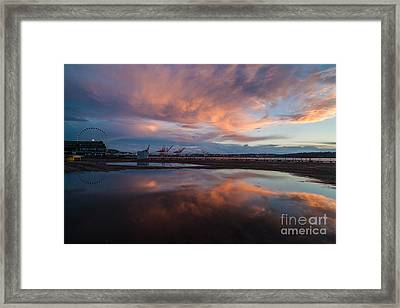 Sunset Skies And The Wheel Framed Print