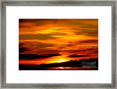 Sunset Sky In Yellow And Red Framed Print