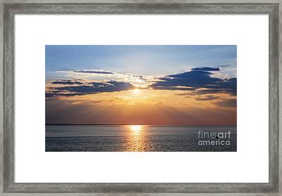 Sunset Sky Over Ocean Framed Print by Elena Elisseeva