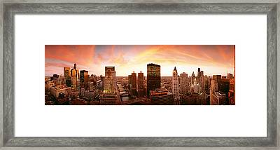 Sunset Skyline Chicago Il Usa Framed Print