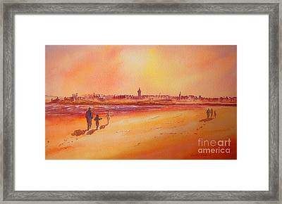 Framed Print featuring the painting Sunset St Andrews Scotland by Beatrice Cloake