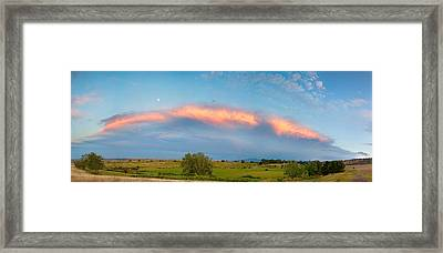 Sunset Storm And Moon From Longmont To Boulder Co Panorama Framed Print