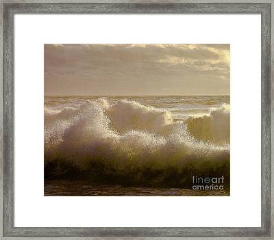 Sunset Storm Surf Framed Print