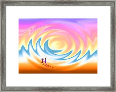 Sunset Stroll On A Windy Beach Framed Print by Ginny Schmidt