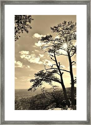 Sunset Sunburst Over Hanging Rock Nc Framed Print