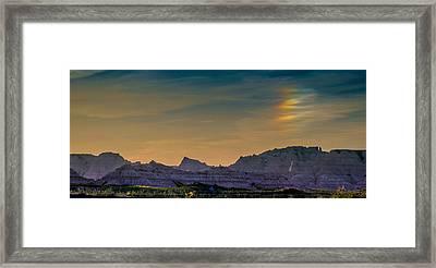 Sunset Sundogs At The Badlands Framed Print