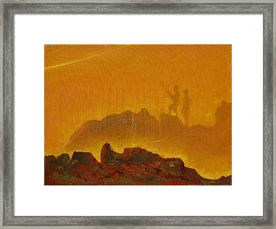Framed Print featuring the painting Sunset Surf Fishermen by Thomas Bertram POOLE