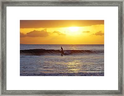 Sunset Surf Maui Framed Print by David Olsen