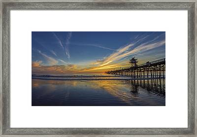 Framed Print featuring the photograph Sunset Surf by Sean Foster