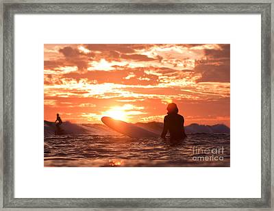 Framed Print featuring the photograph Sunset Surf Session by Paul Topp