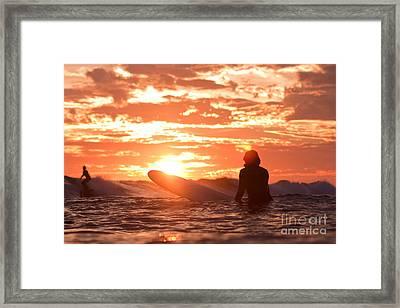 Sunset Surf Session Framed Print by Paul Topp
