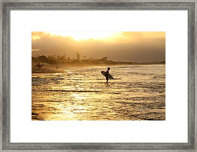 Sunset Surf Session Framed Print