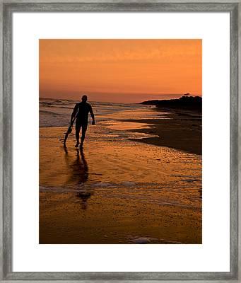 Sunset Surfer Hilton Head Sc Framed Print