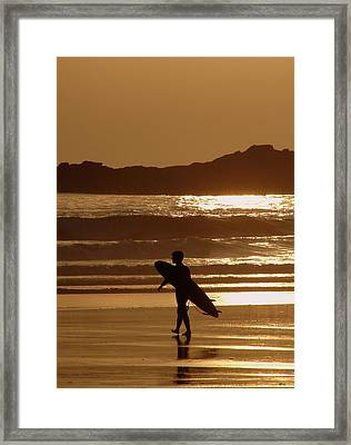 Sunset Surfer Framed Print by Ramona Johnston