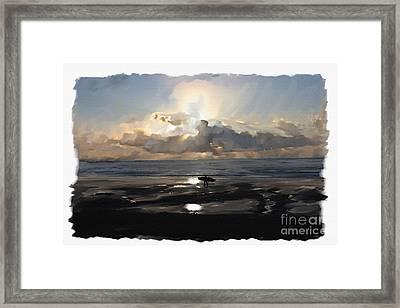 Sunset Surfer Framed Print by Roger Lighterness
