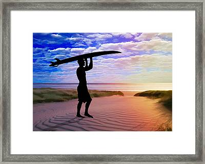 Sunset Surfer Sand And Clouds Framed Print by Elaine Plesser