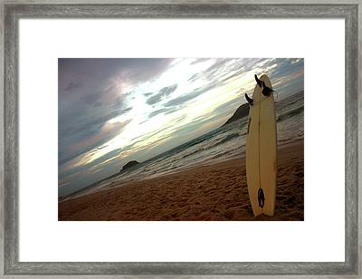Sunset Surfing  Framed Print by Frederico Borges