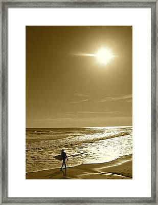Sunset Surfing Framed Print
