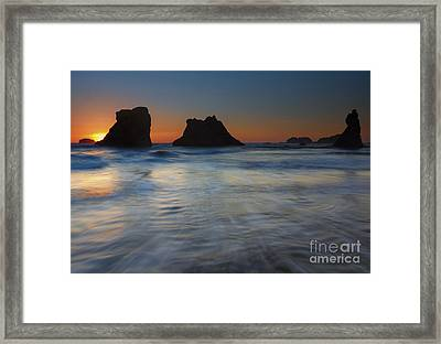 Sunset Surge Framed Print by Mike  Dawson