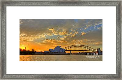 Sunset Sydney Harbour - Australia Framed Print by Bryan Freeman