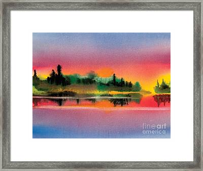 Framed Print featuring the painting Sunset by Teresa Ascone