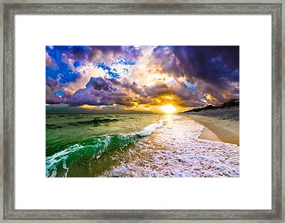 Sunset Through Breaking Wave-landscape-sea And Dark Cloud Framed Print