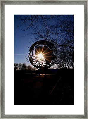 Sunset Through The Unisphere Framed Print