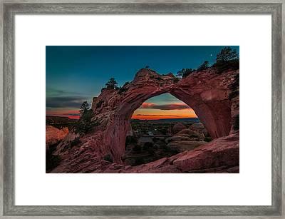 Sunset Through Window Rock Framed Print