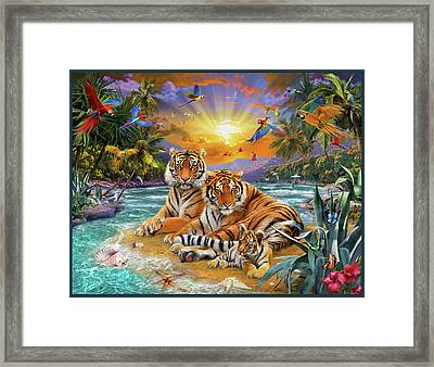 Sunset Tigers Framed Print