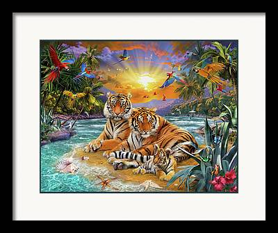 Tropical Sunset Drawings Framed Prints