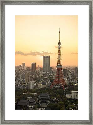 Sunset Tokyo Tower Framed Print by For Ninety One Days
