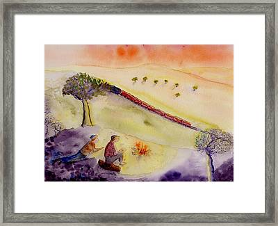 Sunset Train Framed Print