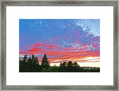 Sunset Trees Framed Print by Nur Roy