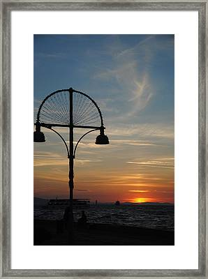 Sunset View From Kordon - Izmir Framed Print by Jacqueline M Lewis