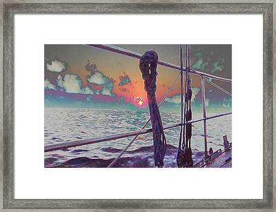 Sunset View From Sail Boat In Chile South America Grahic Enhancement Navinjoshi Artist Top100 Framed Print by Navin Joshi