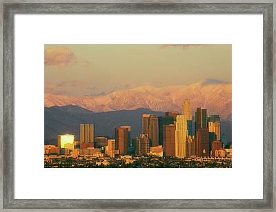 Sunset View Of Mount Baldy And Los Framed Print
