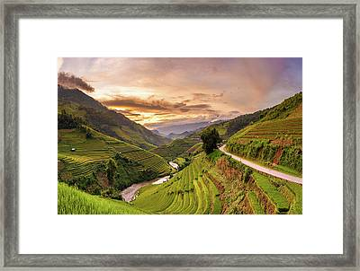 Sunset View Point Of Rice Terrace Framed Print by Suttipong Sutiratanachai