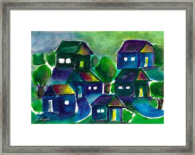 Framed Print featuring the painting Sunset Village Watercolor by Frank Bright