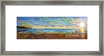 Sunset Volleyball At Old Silver Beach Framed Print by Rita Brown