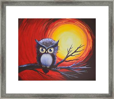 Sunset Vortex With Owl Framed Print