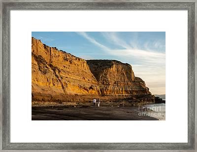 Sunset Walk At Flat Rock  La Jolla California Framed Print