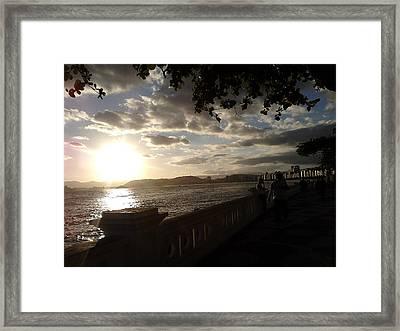 Sunset Walk Ponta Da Praia Santos Brazil Framed Print by Vera Radoja de Vasconcelos