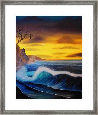 Sunset Wave Framed Print by Charles Eagle