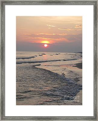Sunset Waves Framed Print by Michelle Powell