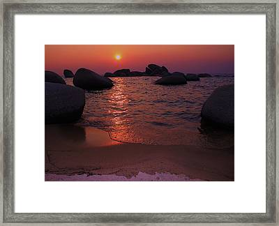 Framed Print featuring the photograph Sunset With A Whale by Sean Sarsfield