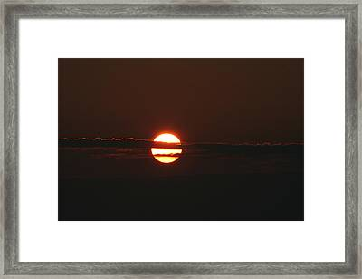 Sunset With Cloud Framed Print by Carolyn Reinhart