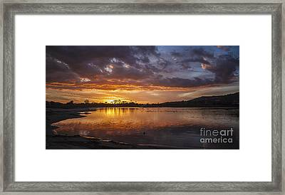 Sunset With Clouds Over Malibu Beach Lagoon Estuary Framed Print