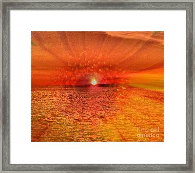 Sunset With Flower By Saribelle Rodriguez Framed Print by Saribelle Rodriguez