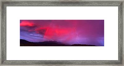 Sunset With Lightning And Rainbow Four Framed Print by Panoramic Images