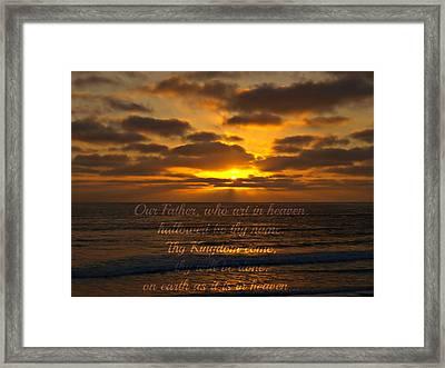 Sunset With Prayer Framed Print by Sharon Soberon
